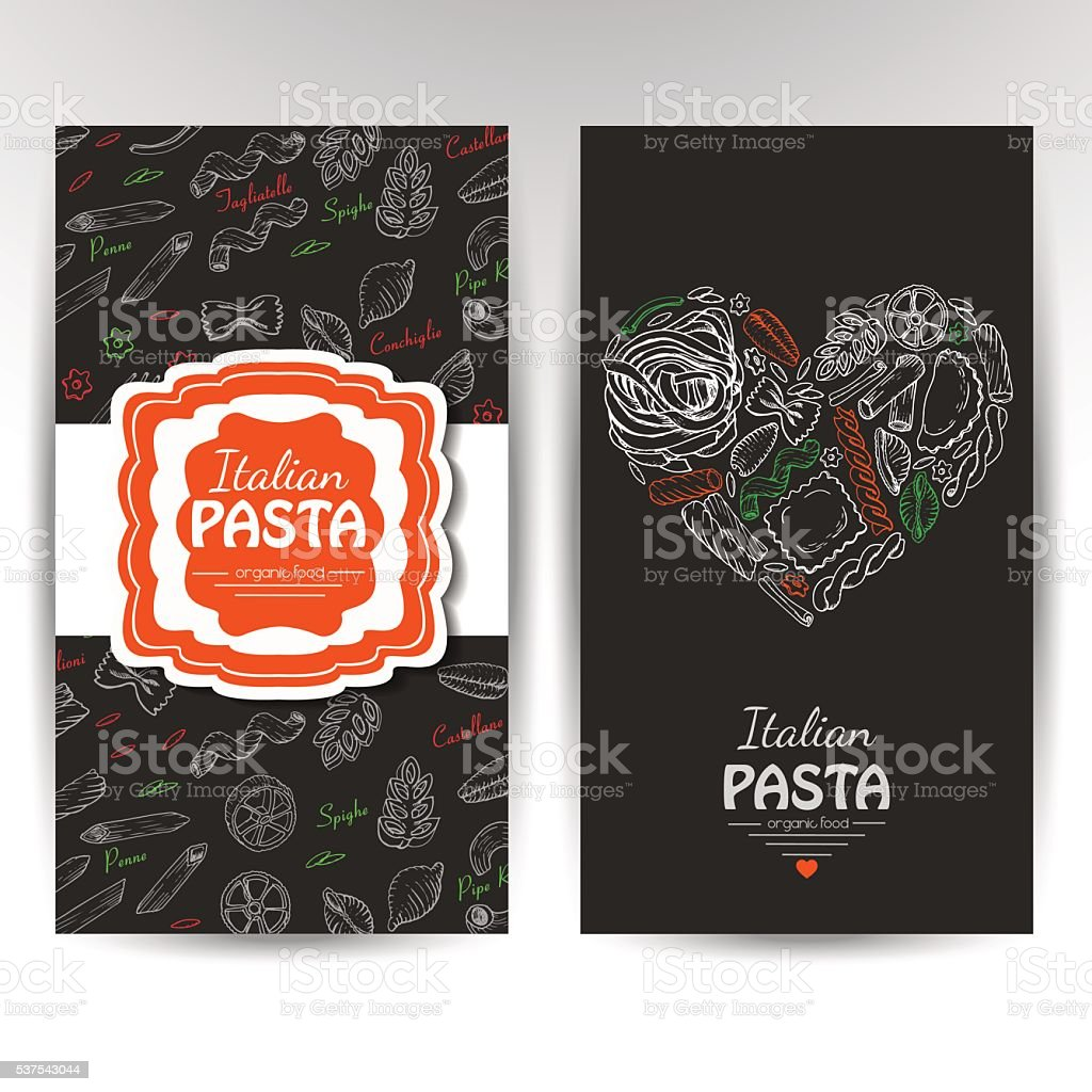 Vector Business Cards With Italian Pasta For Restaurants Stock ...