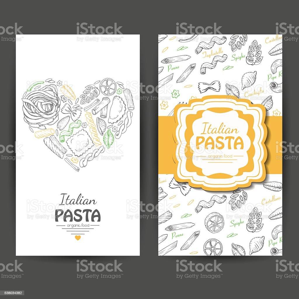 Vecteur Des Cartes De Visite Avec Ptes Italiennes Aux Restaurants