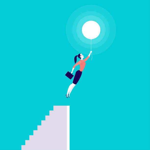ilustrações de stock, clip art, desenhos animados e ícones de vector business concept illustration with business lady flying up with air balloon from stairs isolated on blue background. - mulher balões