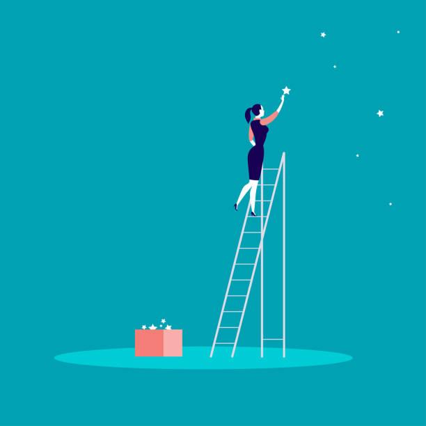 business konzept vektorgrafik mit business-dame stehend auf der treppe und sterne am himmel zu erreichen. - lebensziel stock-grafiken, -clipart, -cartoons und -symbole