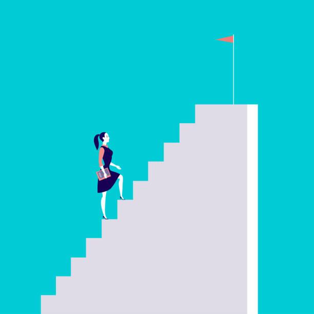 business konzept vektorgrafik mit business-dame treppensteigen mit flagge drauf auf blauem hintergrund isoliert. - treppe stock-grafiken, -clipart, -cartoons und -symbole