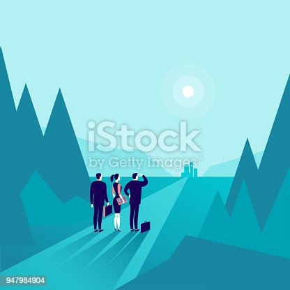 istock Vector business concept illustration with business people standing at forest edge & watching on horizon city. 947984904