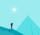 Vector business concept illustration with businessman standing on mountain peak and watching at new top. Metaphor for new aims and goals, purposes, achievements and aspirations, motivation.