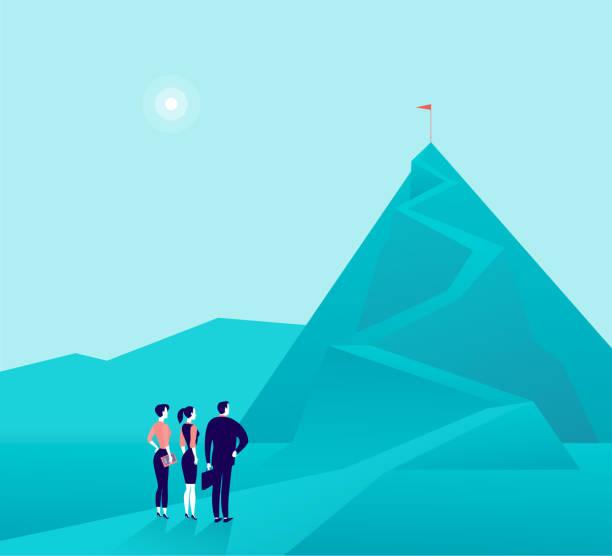 ベクトル ビジネス コンセプト イラストを使用したビジネスマン、女性山写真に立って、上を見ています。 - challenge点のイラスト素材/クリップアート素材/マンガ素材/アイコン素材