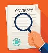 Vector business contract and magnifier. Analyzing document.