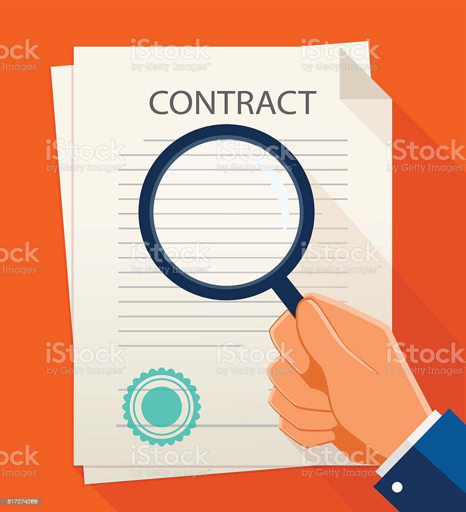 Vector business contract and magnifier. Analyzing document. vector art illustration
