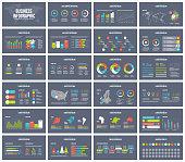 Dark background presentation template. Vector Business infographic.