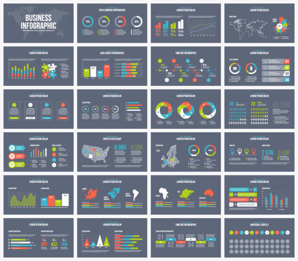 Vector business dark presentation template. Dark background presentation template. Vector Business infographic. infographic stock illustrations