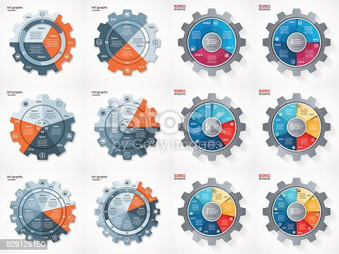 istock Vector business gear style circle infographic set 529125150