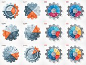 Vector business and industry gear style circle infographic set for graphs, charts, diagrams and other infographics. Pie chart, cycle chart, round chart templates with 3, 4, 5, 6, 7, 8 options, parts, steps, processes.