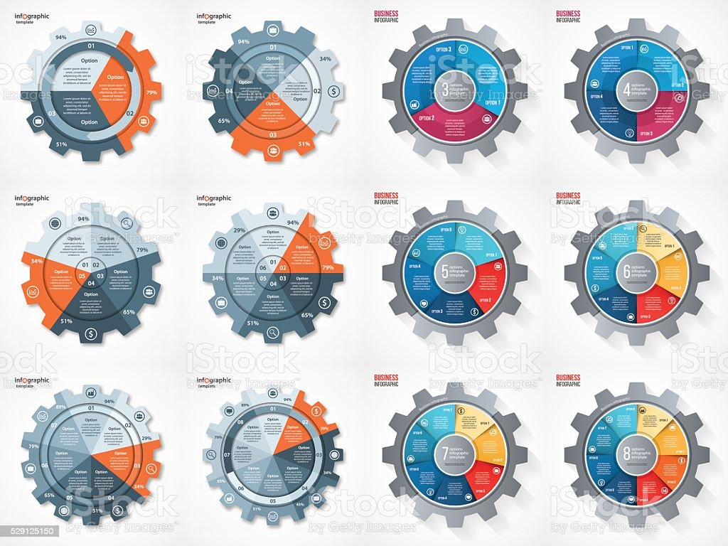 Vector business gear style circle infographic set vector art illustration