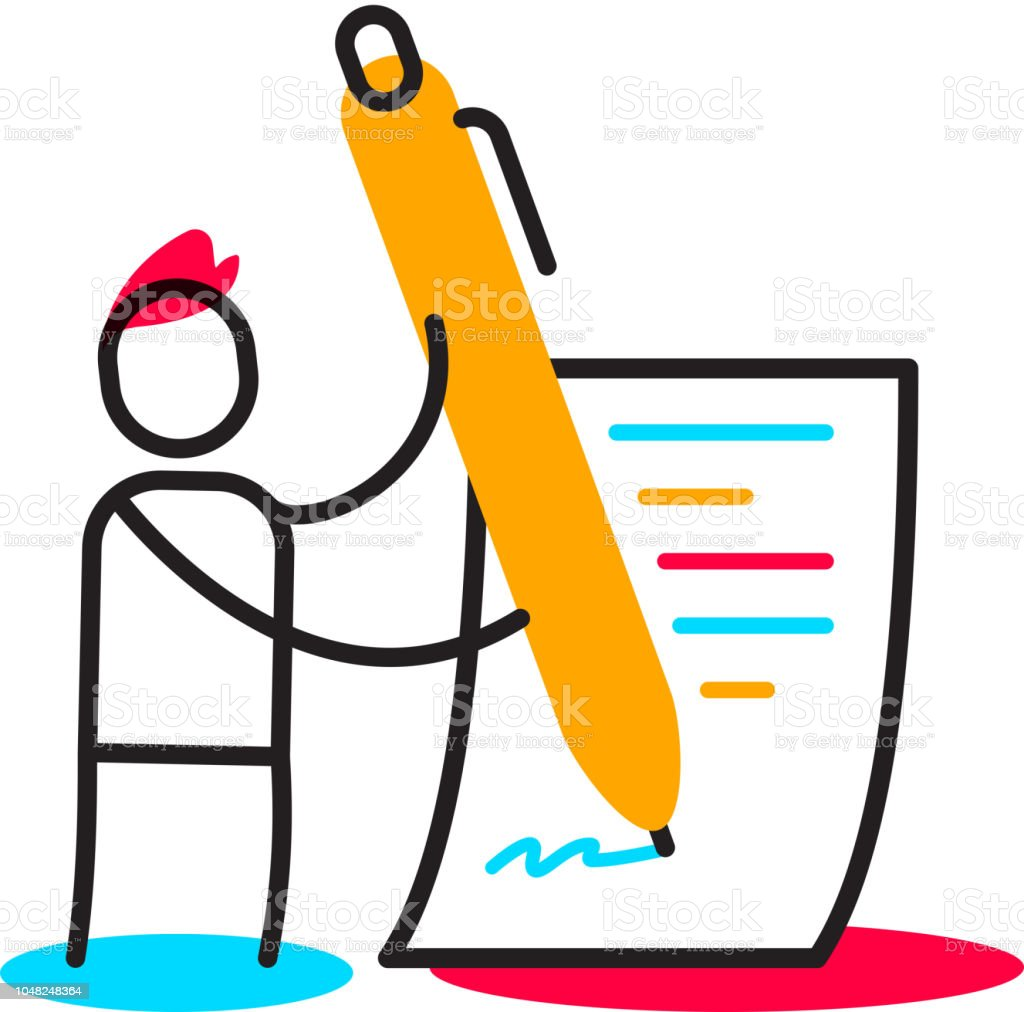 Vector Business Illustration Of A Man Signs A Contract With