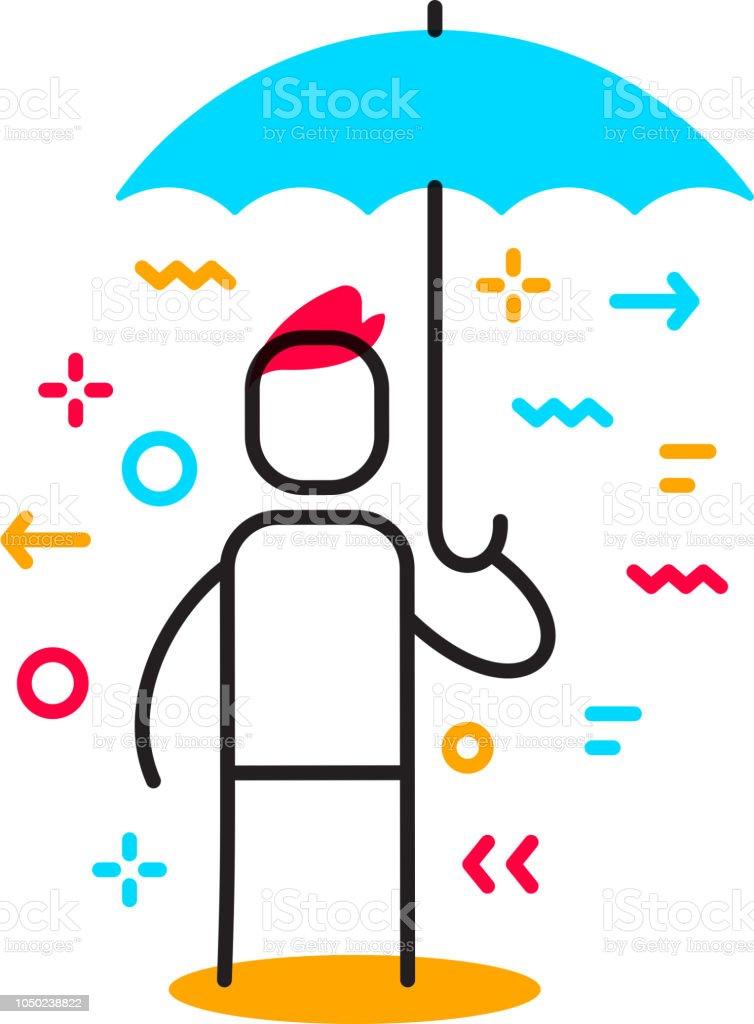 青い傘の下で立っている人のベクトル ビジネス イラスト保護と財務リスク