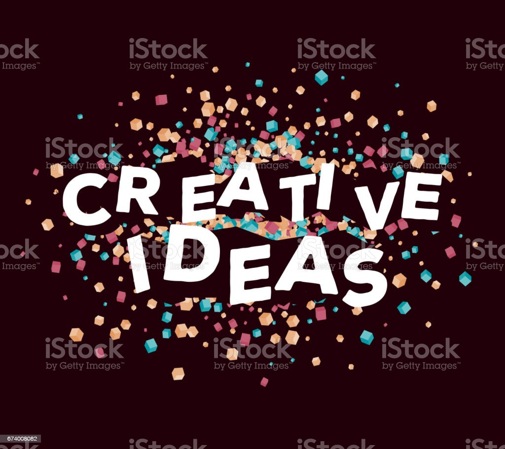 Vector business illustration of three dimensional words creative ideas with abstract colorful small cube shapes on dark background. royalty-free vector business illustration of three dimensional words creative ideas with abstract colorful small cube shapes on dark background stock vector art & more images of abstract