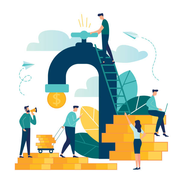 vector business illustration on white background. business porters - a successful team. financing of creative projects. receipt of money from the tap, water consumption, money for water - double exposure stock illustrations