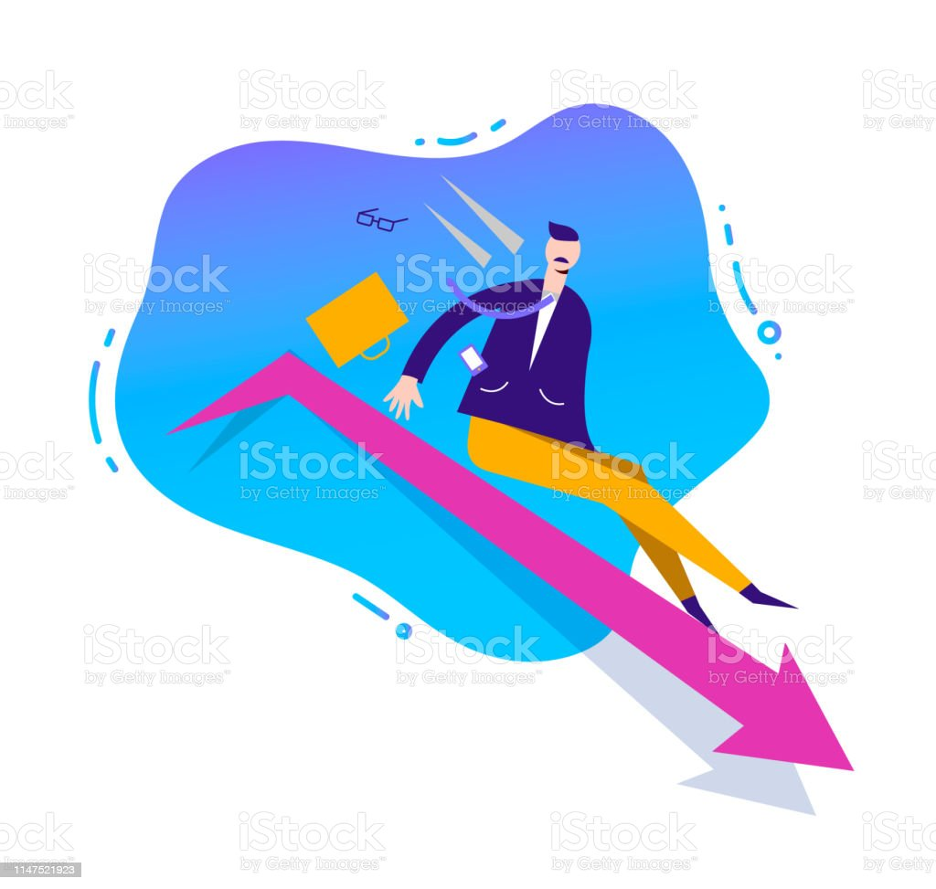 Vector business illustration, stylized character. Failed business...