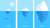 Vector business infographics element template. Creative illustration of 3 different size iceberg in blue water. Flat style design for web, site, banner, poster, presentation
