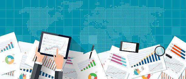 vector business investment and finance banner concept - yıllık olay stock illustrations