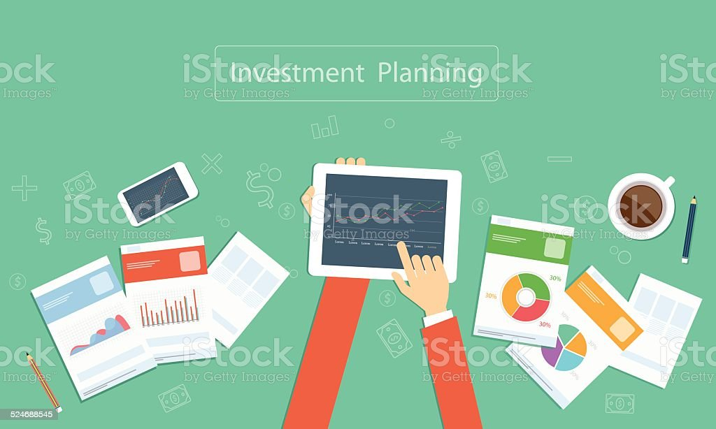Vector business investment planning on device technology vector art illustration
