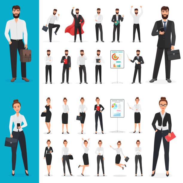 stockillustraties, clipart, cartoons en iconen met vector business man en zakelijke vrouw office karakter in de ontwerpset van de verschillende poses. - business woman phone