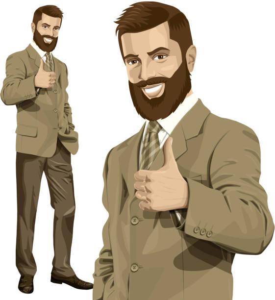 ilustrações, clipart, desenhos animados e ícones de vetor negócios homem com barba mostra bem feito - moda urbana