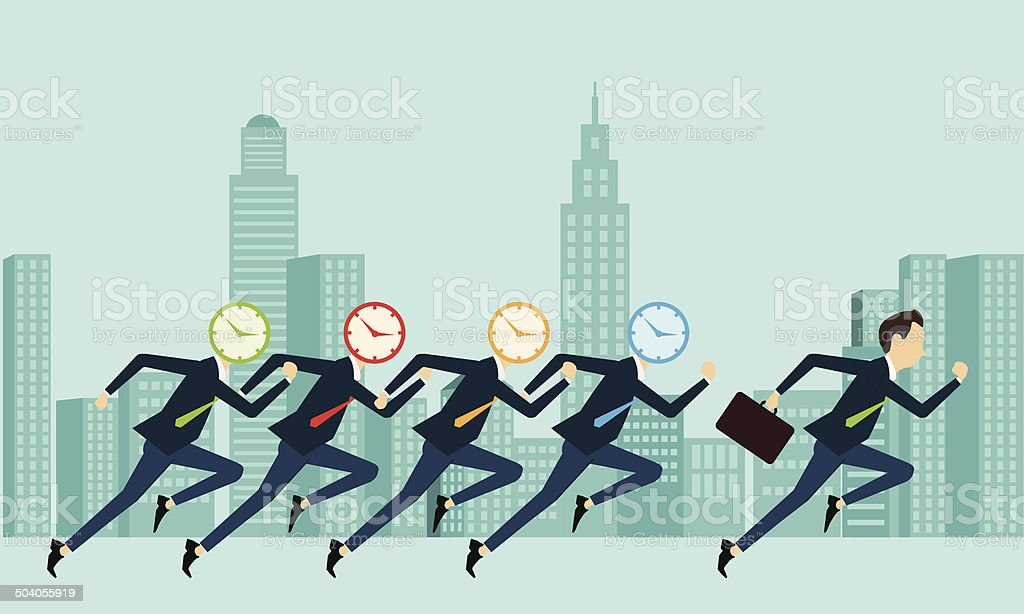 Vector business people competitive with business time vector art illustration