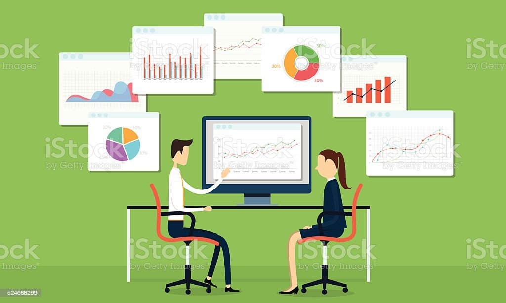 Vector business people on marketing graph vector art illustration