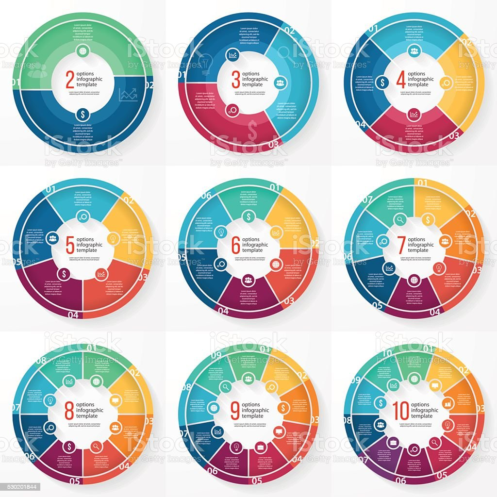 Vector business pie chart circle infographic set royalty-free stock vector art