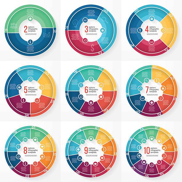 wektor biznes wykres kołowy okrąg zestaw grafika informacyjna - część stock illustrations