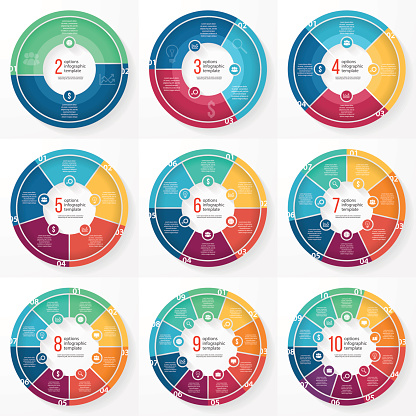 Vector Business Pie Chart Circle Infographic Set Stock Illustration - Download Image Now