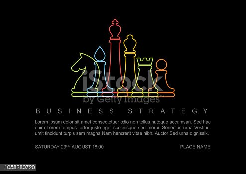 istock Vector business strategy concept template with chess figures 1058280720