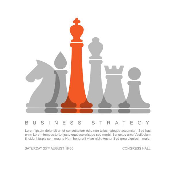 illustrations, cliparts, dessins animés et icônes de modèle de concept stratégie métier vecteur avec des figures d'échecs - échec