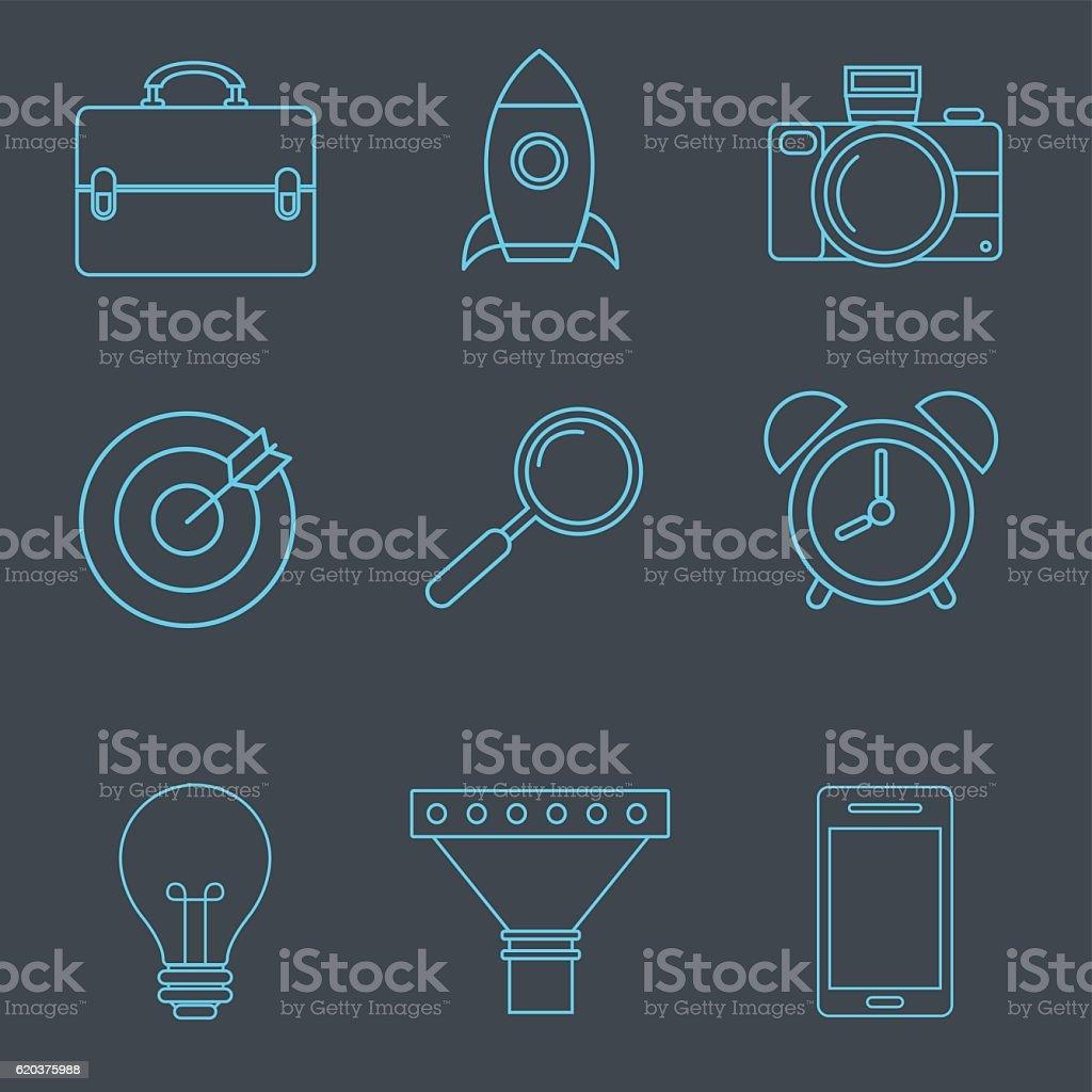 Estratégia de negócios de vetor em estilo linear estratégia de negócios de vetor em estilo linear - arte vetorial de stock e mais imagens de apontar royalty-free