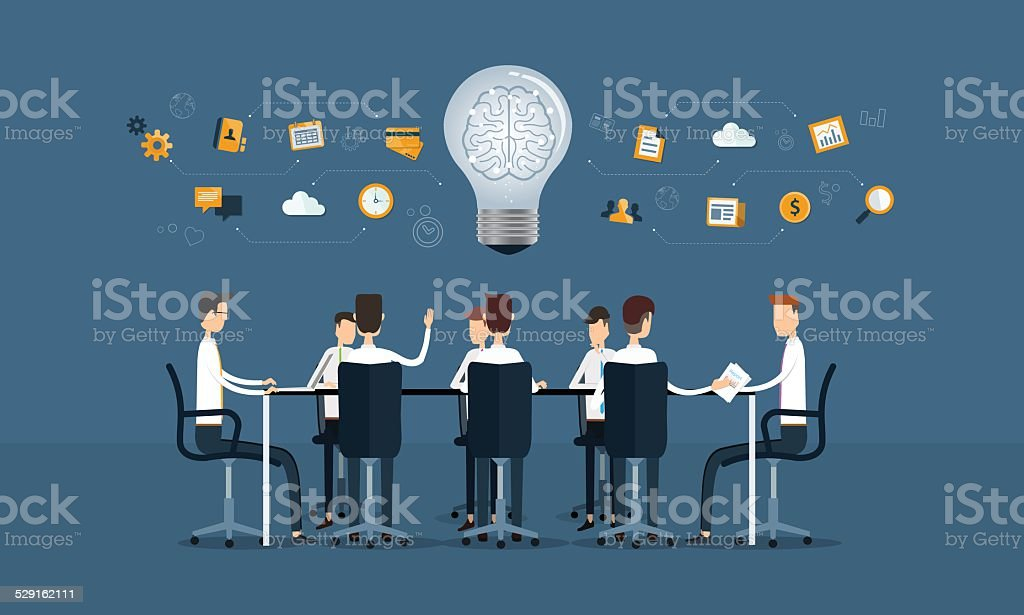 vector business teamwork meeting and brainstorm vector art illustration
