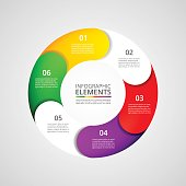 Infographics step by step. Universal abstract element of chart, graph, diagram with 6 steps, options, parts, processes. Vector business template for presentation and training.