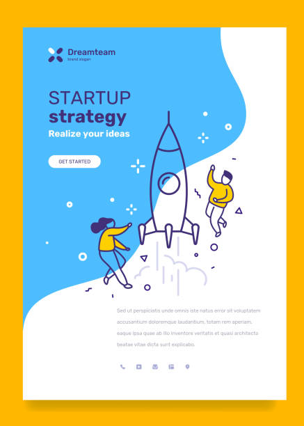 vector business template with illustration of people with space rocket launch. startup research concept with text on blue background. - abstract of paper spaceship launch to space stock illustrations, clip art, cartoons, & icons
