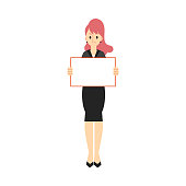 Vector business woman in suit with placard
