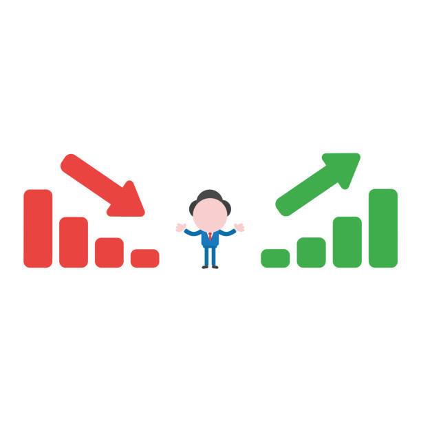 Vector businessman character between sales bar charts moving down and up vector art illustration