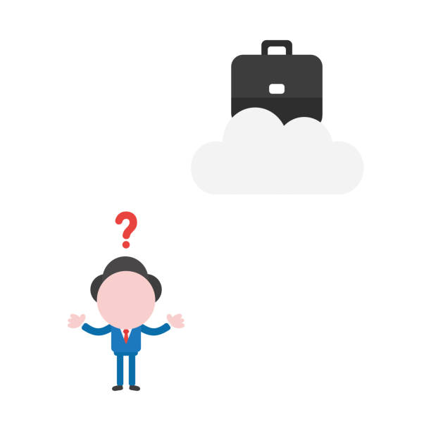 Vector businessman character confused how reach to briefcase on cloud vector art illustration