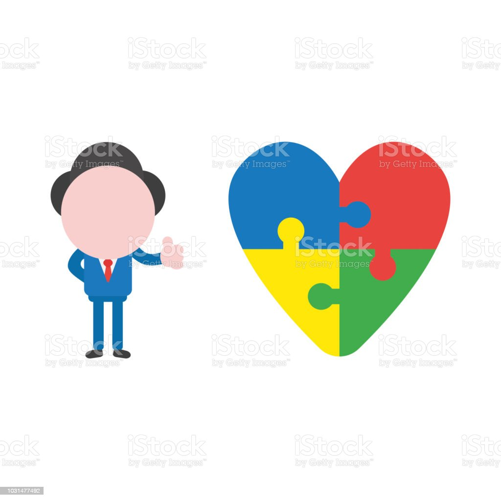 Vector businessman character giving thumbs up with connected heart jigsaw puzzle vector art illustration