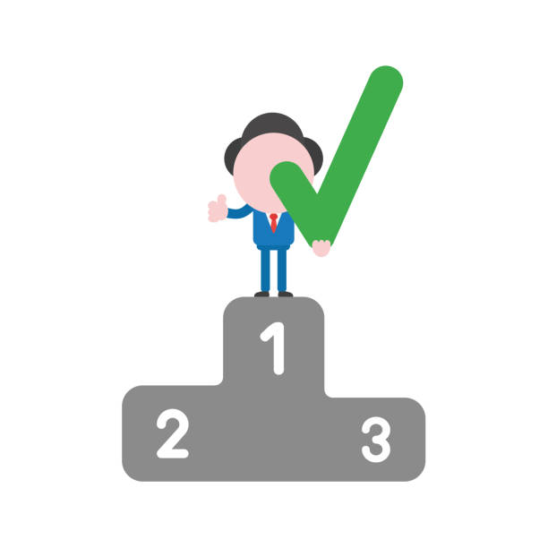 Vector businessman character holding check mark on first place of winners podium and gesturing thumbs up vector art illustration