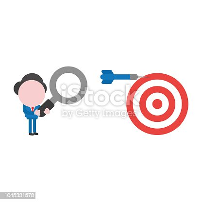 Vector illustration businessman character holding magnifying glass and looking to dart miss the target on bulls eye.