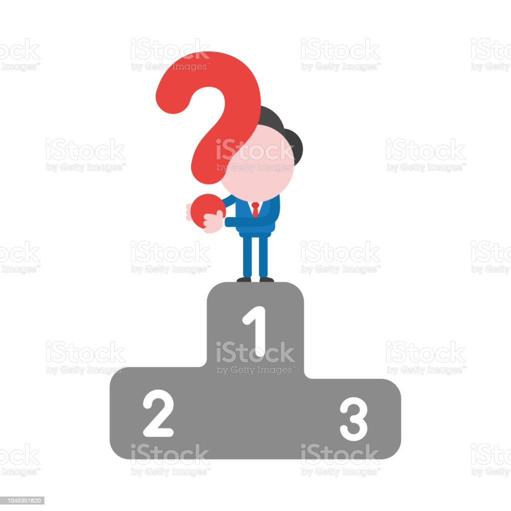 Vector businessman character holding question mark on first place of winners podium vector art illustration