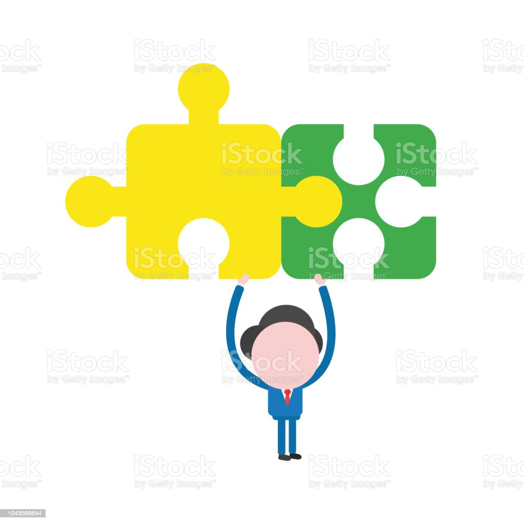 vector businessman character holding up connected jigsaw puzzle