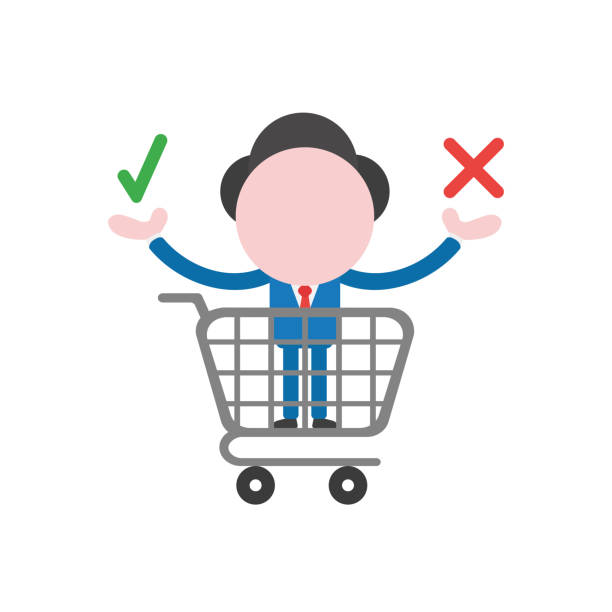 Vector businessman character inside shopping cart and holding check and x marks vector art illustration