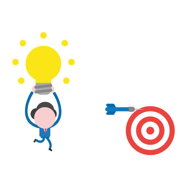Vector businessman character running and carrying glowing light bulb to dart miss the mark on bulls eye vector art illustration