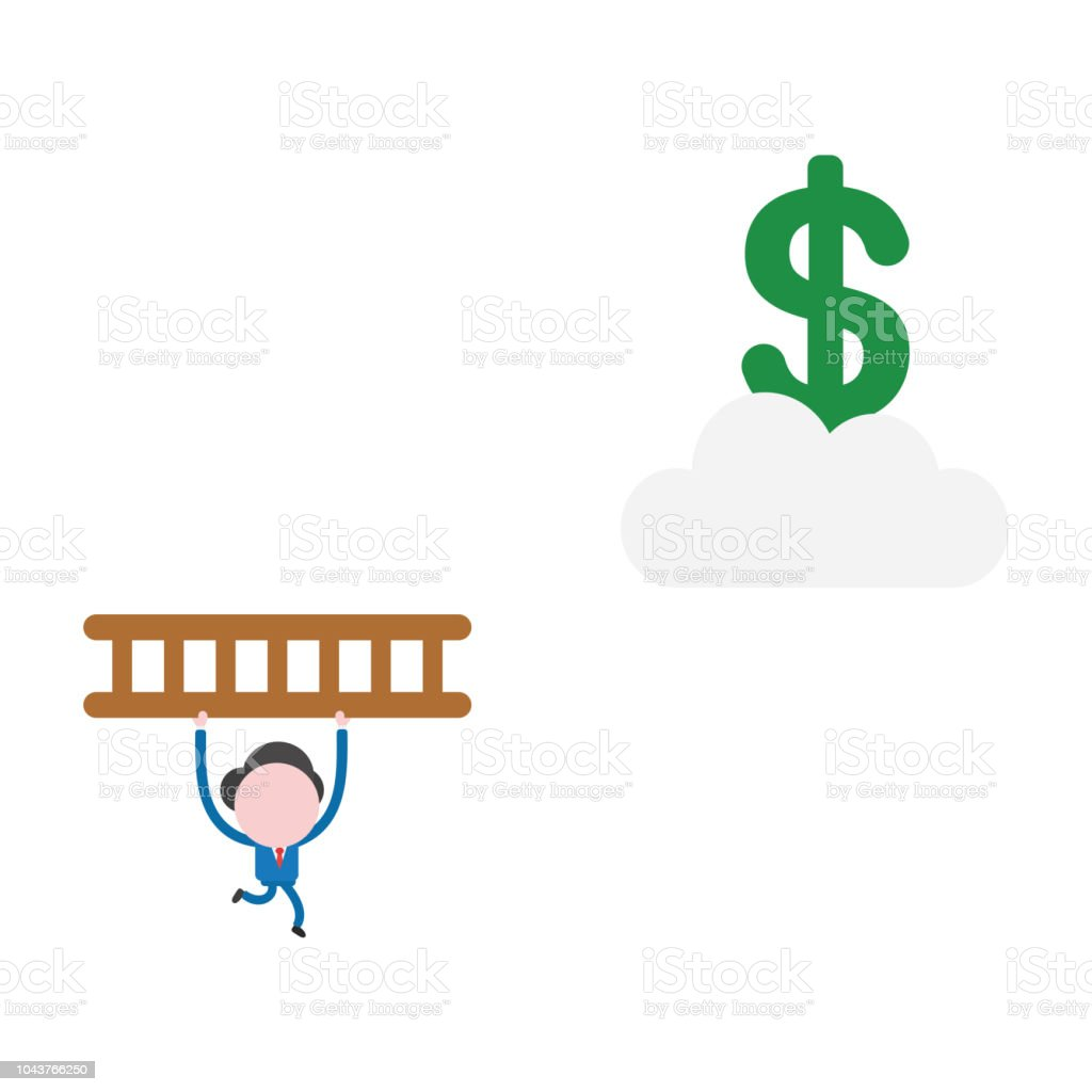 Vector businessman character running and carrying wooden ladder to reach dollar symbol on cloud vector art illustration