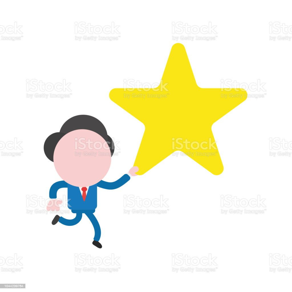 Vector businessman character running and holding yellow star vector art illustration
