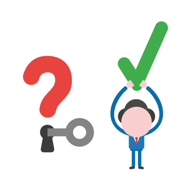 Vector businessman character unlock question mark and holding up check mark vector art illustration