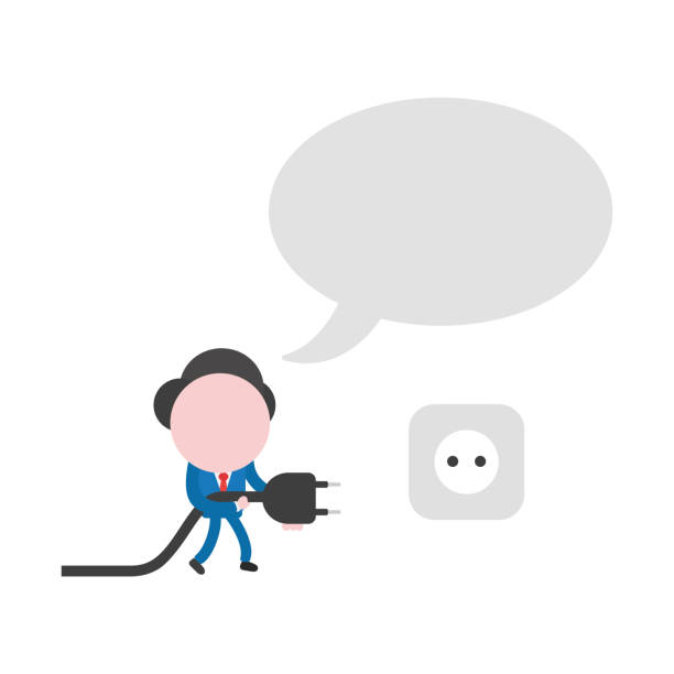 Vector businessman character with speech bubble, walking and holding plug to plugged into outlet vector art illustration